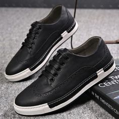 Men's Sport Shoes Youth Fashion Leather Leisure Shoes