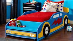 Great DIY Car Bed for toddlers or kids interested in cars. Can custom paint it to go with whatever theme your child loves.