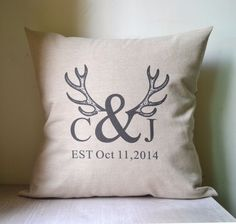Antler Pillow cover, personalized pillowcase, monogram pillow cover,for wedding