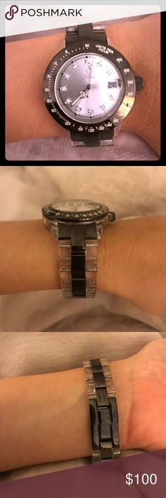 TOYWATCH!!! TOYWATCH! Please see pictures! Stainless steel back and water resistant! It is black silver and clear! ToyWatch Accessories Watches