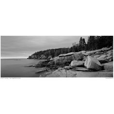 Panoramic Black and White Picture/Photo: Rocky ocean coast at sunrise,... ❤ liked on Polyvore