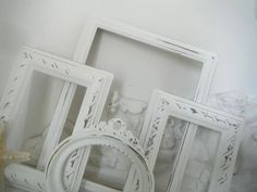French country picture frames 4 piece shabby chic cottage style nursery decor vintage style OOAK open frames photo frames ornate wall decor. $34.00, via Etsy.