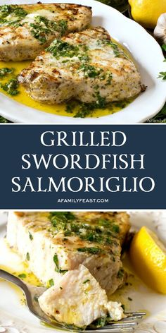 Grilled Swordfish Salmoriglio Grilled Swordfish Salmoriglio has a flavorful, buttery lemon herb sauce on top of juicy grilled sword fish. Plus tips & tricks to make perfectly cooked swordfish. Steak Recipes, Grilling Recipes, Gourmet Recipes, Dinner Recipes, Cooking Recipes, Healthy Recipes, Grilled Fish Recipes, Cooking Pasta, Seafood Dishes