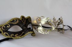 His and hers masquerade gold masks couples by Stefanelbeadwork