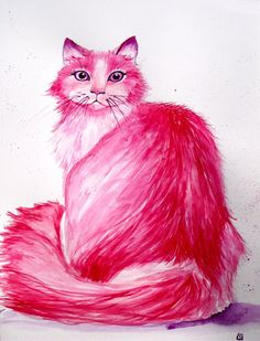 Miss Pink Kitty watercolour, pretty pink cat, original painting 10x14 inches