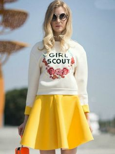 Beige Blouse And Yellow Skate Skirt | Girl Scout
