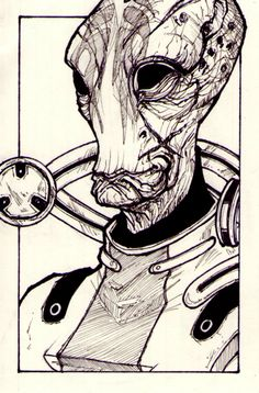 Wish I could draw like this! Particularly like the sketchiness and the details. :) #MassEffect #MordinSolus