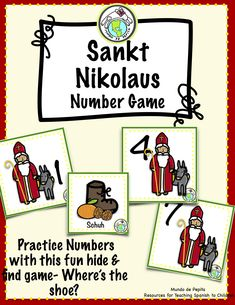 This fun game featuring Sankt Nikolaus, for December 6th, is great for German class, practicing numbers 1-12 plus traditional features of the holiday! Students name a number to try to find the hidden shoe-perfect for little students :) Pepita's World Languages for Kids, a division of Mundo de Pepita, Resources for Teaching Languages to Children