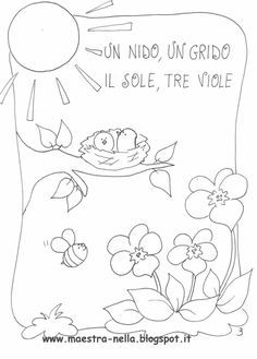 maestra Nella: Primavera...poesia illustrata A 17, Zentangle, Hand Embroidery, Art Drawings, Crafts For Kids, Clip Art, Seasons, Quilts, Sewing
