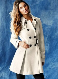 Victoria's Secret Wool Peacoat Beige Size 4 Small Look Fashion, Fashion Outfits, Fashion Design, Beige Coat, Coats For Women, Clothes For Women, Classy Outfits, Winter Coat, Autumn Winter Fashion