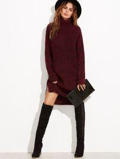 Red High Neck Long Sleeve Dip Hem Sweater