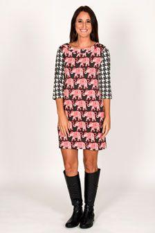 ORDERED - Ruth 3/4 Sleeve Shift Dress -Elephants Pink