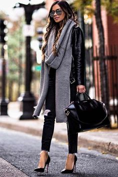 52d1aeee9b0c how to wear a knit scarf   black jacket + ripped jeans + heels + bag