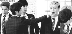 chanyeol rescued luhan's hand on time LOL (GIF) God they act like they're five