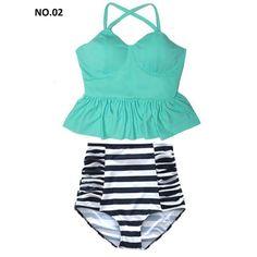 High Waist Swimsuit Bikini Women Swimwear Push Up Peplum High Top 2 piesces Set  #HighWaistChina #PushUp