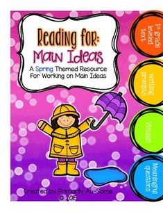 Reading For: Main Idea (Spring Edition) by Primarily Au-Some | TpT