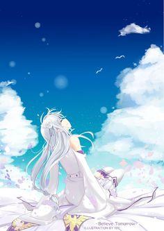 Image d'anime 1158x1637 avec re:zero kara hajimeru isekai seikatsu emilia (re:zero) cosmicsnic long hair single tall image sitting white hair sky cloud (clouds) eyes closed hair flower pointy ears girl dress flower (flowers) detached sleeves petals