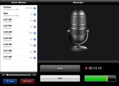 With Voice Memos for iPad, you can now record high quality audio on your iPad using the built-in microphone, your headset, or an external mic.