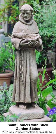St. Francis in the garden. St Francis Statue, Saint Francis, Garden Statues For Sale, Prayer Garden, St Clare's, San Francisco, Garden Art, Forest Garden, Garden Fountains