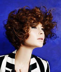 Headquarters Hair Salon - Medium Brown curly hair styles (22498) Sensation Collection Hair: Samantha Macleod and Jurgita Ladauskaite at Headquarters Hair Salon Photography: John Rawson Make-up: Chase Aston Clothes styling: Jared Green