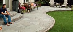 New patio slabs garden paving