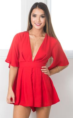 Showpo Break the Bar playsuit in red - 14 (XL) Rompers & Jumpsuits Red Fashion, Fashion Wear, Women's Fashion Dresses, Sexy Dresses, Cute Dresses, Casual Dresses, Short Dresses, Romper Outfit, Dress Outfits