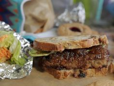 Fried Meatloaf Sandwich with Green Tomato Jam recipe from Damaris Phillips via Food Network