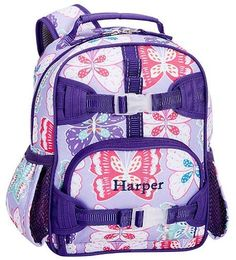 Pre-K Backpack, Mackenzie Lavender/Purple Preppy Butterflies Small Backpack, Mini Backpack, Rolling Backpack, Small Notebook, Kids Clothes Boys, Normal Wear And Tear, Pottery Barn Kids, Fabric Panels, Preppy