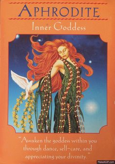 Aphrodite ~ Inner Goddess, from the Goddess Guidance Oracle Cards, by Doreen Virtue, Ph. Aphrodite Goddess, Divine Goddess, Aphrodite Tattoo, Goddess Art, Doreen Virtue, Wayne Dyer, Spiritual Guidance, Spiritual Encouragement, Spiritual Gifts