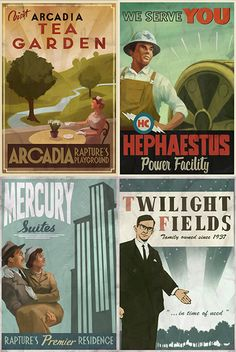 Set of 4 Bioshock Rapture Tourism magnets by MyGeekBoutique, $9.95