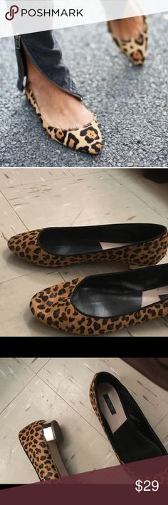 Zara leopard flats Zara leopard flats in size Euro 42 which is a true size 11 .  👿NO TRADE 👿 worn once for 2 hours . Zara Shoes Flats & Loafers