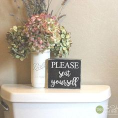 Please Seat Yourself Mini Block Wood Sign - Bathroom Decor - Wood Sign - Wooden Signs - Funny Sayings - Quotes - Small MiniBlock M009