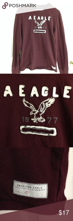 American Eagle Long Sleeve Shirt American Eagle long sleeve maroon shirt with raised lettering and Topstitching. Size S  shirt is in excellent condition 100% cotton American Eagle Outfitters Shirts Tees - Long Sleeve