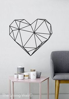 Geometric Heart Wall Decals Black and White Home Decor Removable Vinyl Wall Stickers, Geometric Heart Wall Art Bedroom, Australian Made - Home Decoration Ideas Tape Wall Art, Washi Tape Wall, Tape Art, Wall Stickers Geometric, Vinyl Wall Stickers, Wall Decals, Bedroom Stickers, Wall Vinyl, Wood Wall