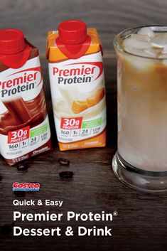 Use Premier Protein® Shakes to create a bread pudding or caramel mocha. Premier Protein Shakes, Protein Desserts, Snack Recipes, Snacks, Easy Video, Dessert Drinks, Quick Easy Meals, Healthy Eats, Mocha
