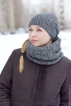 Зимний комплект шапка и снуд в один оборот - серый,однотонный,комплект вязаный