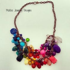Chunky rainbow gemstone and copper necklace.