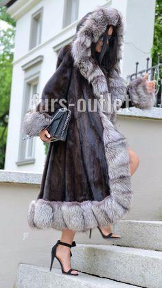 NEW BROWN SAGA MINK FUR LONG COAT SILVER FOX HOOD CLASS OF SABLE JACKET SWINGER   eBay