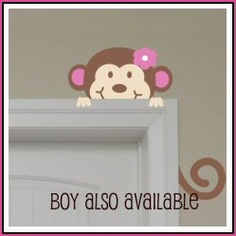 Peeking Monkey wall decal - I don't know if we can get this to work on our wall or trim though