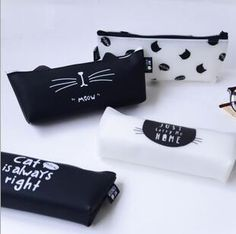 Cat Is Always Right Jelly PU Leather Pencil Case Stationery Storage Organizer Bag School Office Supply Gift Stationery