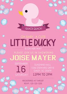 Rubber Ducky Baby Shower Invitation girl by tonikacarter on Etsy