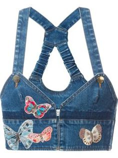 butterfly embroidered denim top