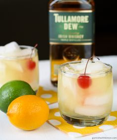 Meyer Lemon Whiskey Sours- Garnish with Lemon