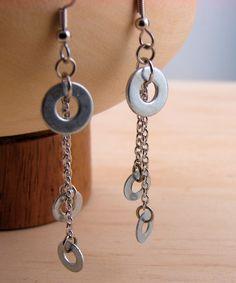 Dangle Chandlier Earrings Hardware Jewelry Eco Friendly Industrial Washers. $12.00, via Etsy.