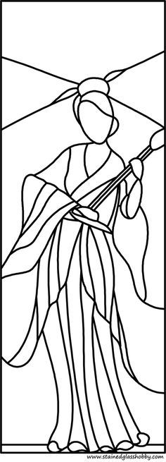 Chinese woman stained glass pattern