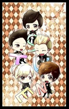 NU'EST  MinHyun, Ren, Jr, BaekHo, Aron ʕ•ᴥ•ʔ Really cute cartoons