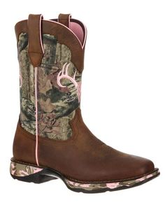 "Durango Lady Rebel 10"" Mossy Oak Camo and Distressed Brown Square Toe Boot - Ladies Boots and Shoes - Ladies - New 2015 camouflage, hunting, women hunting, huntress, country girl, bow hunter. Want!"
