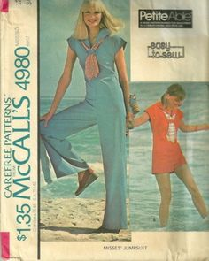 1970s McCalls 4980 Misses Sailor Style Jumpsuit  Romper vintage sewing Pattern  | PatternGate - Craft Supplies on ArtFire