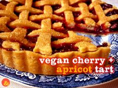 Vegan Cherry + Apricot Tart: Sweet vegan pie crust filled with a mixture of tart cherries and fresh apricots!