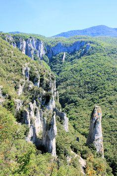 view on strange rock formation, Vela Draga in Ucka mountains, Istria, Croatia